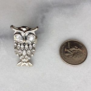 Pave Owl Adjustable Silver Cocktail Ring